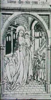 die madonna mit kind in einem gotischen raum, mit dem    knienden abt ludwig (bartsch x, 16, 13) by wolfgang aurifaber