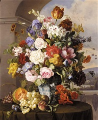 rosen und tulpen in blau-weisser vase (roses, tulips and other flowers in a blue and white vase) by anton hartinger