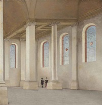 the interior of the nieuwe kerk, haarlem, seen from the south-west by pieter janz saenredam