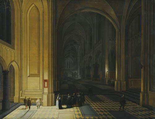 vue intérieure d'une église la nuit, avec un groupe de religieuses au premier plan by peeter neeffs the elder