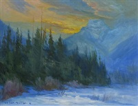 feb. sunset over bourgeau nr banff by orestes (rick) nicholas de grandmaison