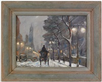 new york city winter scene by bela de tirefort