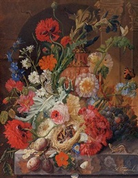 irises, peonies, roses and other flowers surrounding a terracotta urn, with a birds' nest, grapes and plums by johannes hendrik fredriks