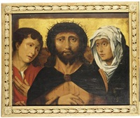 christ crowned with thorns, with mary and st. john the evangelist / christus mit dornen gekrönt, mit maria und johannes by frans mostaert