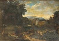 cavaliers dans un paysage (+ pâtre se reposant au bord d'un chemin longeant un château; pair) by abraham genoels
