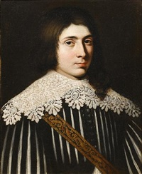 portrait of a young man in black and white costume with a lace collar by mathieu (le chevalier) le nain
