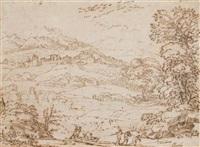 une barque tirée par trois hommes aux abords d'un village sur une colline by pier paolo (g.b. carracci) bonzi
