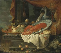 a lobster in a porcelain bowl, with grapes, figs, peaches and cherries in a copper vessel, bread, a porcelain ewer and a flute of wine on a lacquered box, on a partly-draped stone entablature, a draped column and a landscape beyond by andries benedetti