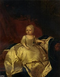 portrait of a royal child, princess caroline matilda (?), in a lace dress and bonnet, seated on a sofa draped with a blue velvet ermine-lined cloak, in an interior by willem verelst