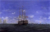 galleons and masked ships on open waters by e.k. waum