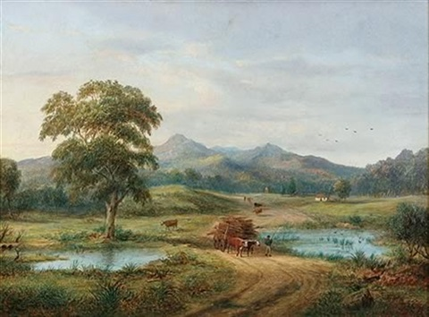 rural scene with dray figures and cottages by henry c gritten