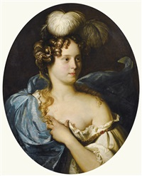 portrait de jeune femme au chapeau bleu by pieter nason