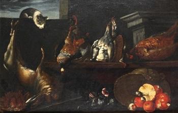 bodegón con gato liebre aves y hongos by jan fyt