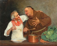 monk and chef in kitchen by david sani