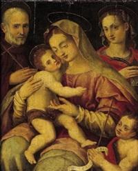 la vergine con il bambino e i santi caterina, giovanni gualberto e il giovannino by francesco brini