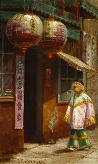 figure in a chinatown alley by charles albert rogers