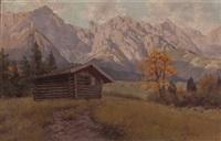 hütte im gebirgstal by franz xaver jung-ilsenheim
