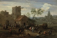 a village kermesse with figures making merry, archers playing a game beyond by mathys schoevaerdts