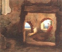 harfenspieler in einer burgruine by friedrich philip reinhold