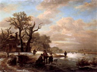 figures on a frozen river by anthony jacobus offermans