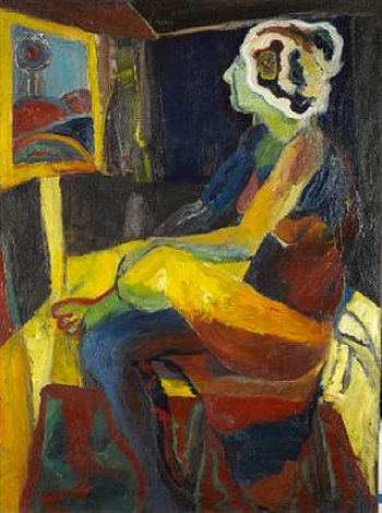 untitled seated woman by norman stiegelmeyer