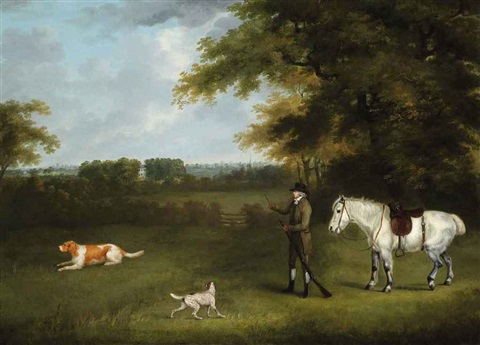 a sportsman with his dogs and pony in a wooded landscape by john nost sartorius