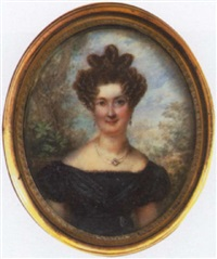 portrait of a lady wearing a black evening dress by joseph fourcade