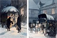 trois études pour l'illustration de boule de suif de guy de maupassant et dix illustrations pour boule de suif de guy de maupassant (14 works) by george bertin scott