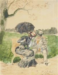 conversation sur un banc public by léon joseph voirin
