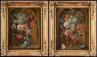 chute de fleurs et de fruits dans une niche à la souris et au scarabée et chute de fleurs et de fruits dans une niche au nid (2 works) by coenraet (conrad) roepel