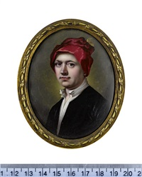 george mercer, wearing black coat, white chemise and red cap with gold plume by henry spicer