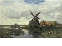 landscape with windmills by paul joseph constantin gabriël