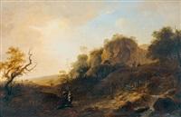 idyllische landschaften mit staffage (pair) by johann-heinrich wüst