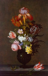 an iris, parrot tulips, roses and other flowers in a glass vase with a parrot tulip and a lizard on a stone ledge by johannes bosschaert