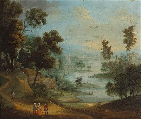 a capriccio landscape with figures conversing in the foreground by anglo flemish school 18