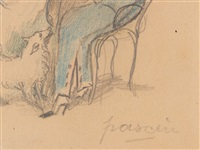 untitled (two seated women with dog) by jules pascin