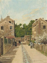 figures passing in a street by emile bugarel