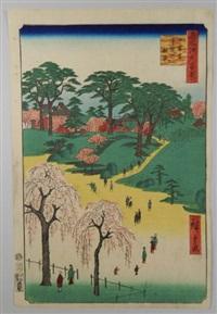série des 100 vues célèbres d'edo. planche 14 - nippori jiin no rinsen. les jardins du temple à nippori by ando hiroshige