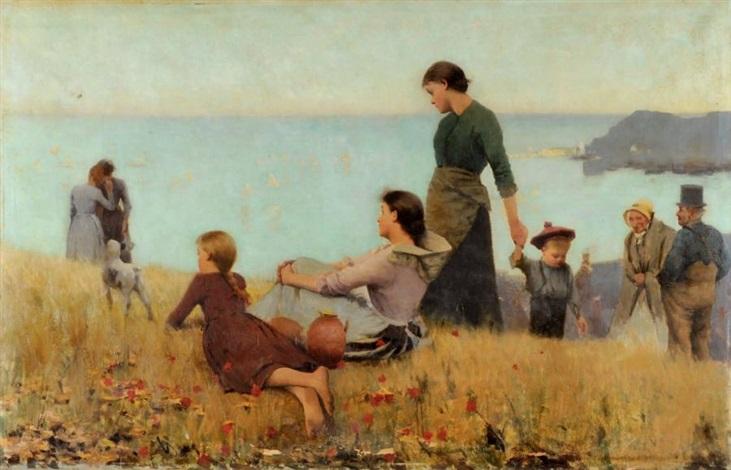 promenade familiale sur les falaises by childe hassam