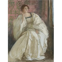 woman in white by edwin austin abbey