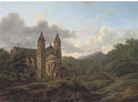 pilgrims before a cathedral by hendrick van assche