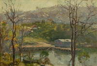 view from balls head looking towards north sydney & shore grammar school by john william (sir) ashton