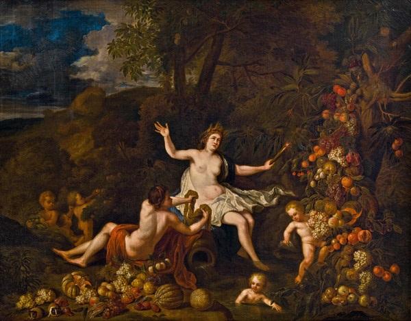 allegorie der erd– - landschaft mit ceres, putten und reicher obststaffage by jan pauwel gillemans the younger
