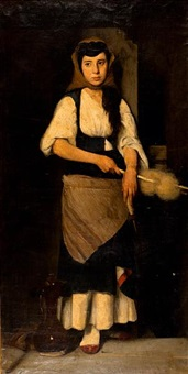 girl with the distaff and spindle by polychronis lembessis
