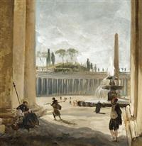 rome, la place saint pierre, vue depuis la colonnade du bernin by hubert robert