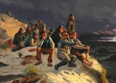 fiskere, som i uveir iagttage de forbiseilende skibe. motivet fra skagen by michael peter ancher