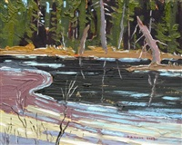 stillwater with melting ice by arthur george lloy