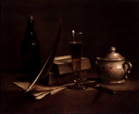 still life with quill, pen and books by camille (fourdoin) le mair