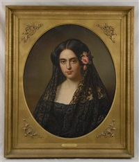 portrait of a lady wearing a mantilla by joseph (guiseppe) fagnani