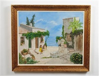 mediterranean courtyard with girl in yellow dress by denis paul noyer